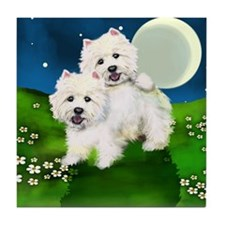 WEST HIGHLAND TERRIER DOGS MOON Tile Coaster