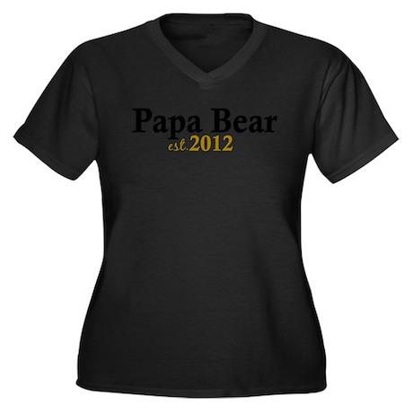 New Papa Bear 2012 Women's Plus Size V-Neck Dark T