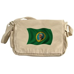 Wavy Washington Flag Messenger Bag
