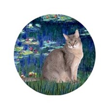 "Lilies #5/Blue Abyssinian cat 3.5"" Button"