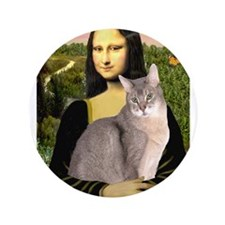 "Mona & her Blue Abbyssinian 3.5"" Button"