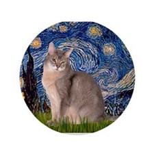 """Starry / Blue Abbysinian cat 3.5"""" Button"""