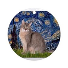 Starry / Blue Abbysinian cat Ornament (Round)