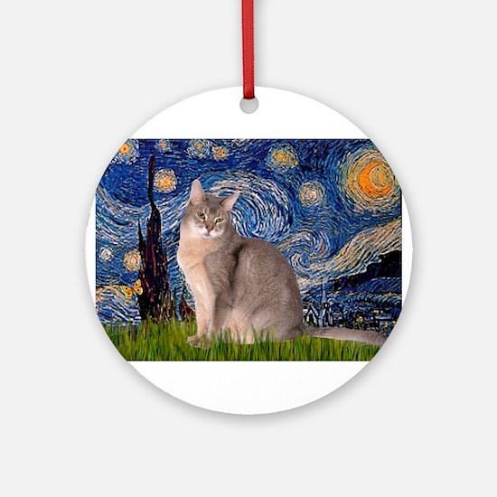 Starry / Blue Abbysinian cat Ornament (Round)