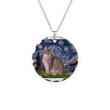 Starry / Blue Abbysinian cat Necklace