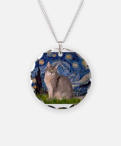 Starry / Blue Abbysinian cat Necklace