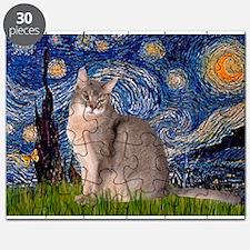 Starry / Blue Abbysinian cat Puzzle