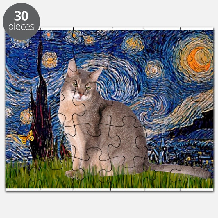 Starry / Blue Abbysinian cat Puzzle
