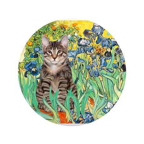 "Irises / Tiger Cat 3.5"" Button"