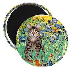 Irises / Tiger Cat Magnet