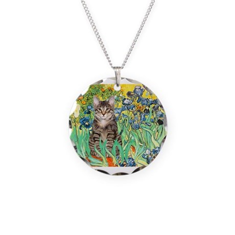 Irises / Tiger Cat Necklace Circle Charm