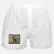 Tabby Tiger Cat in Lilies Boxer Shorts