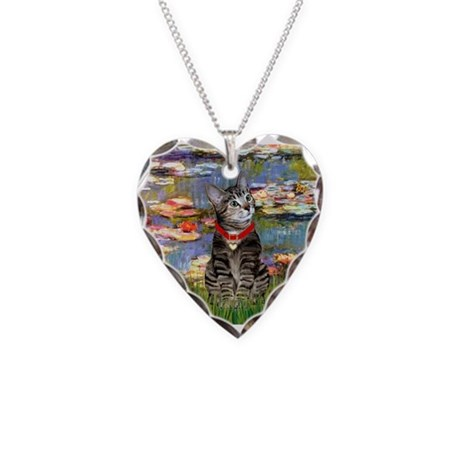 Tabby Tiger Cat in Lilies Necklace Heart Charm