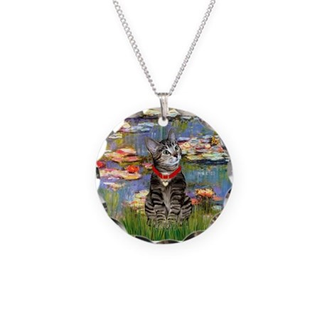 Tabby Tiger Cat in Lilies Necklace Circle Charm