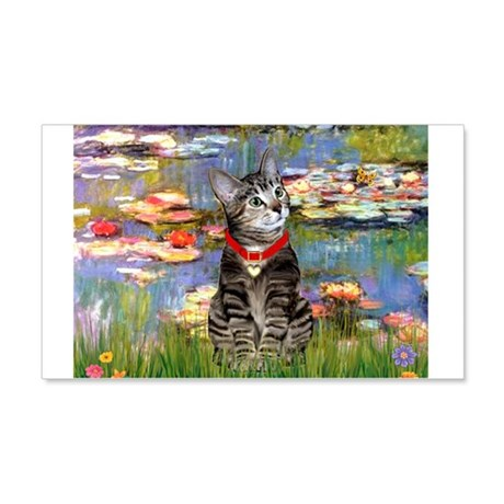 Tabby Tiger Cat in Lilies 22x14 Wall Peel