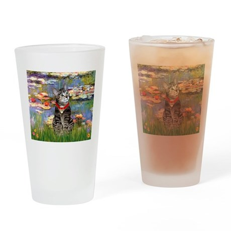 Tabby Tiger Cat in Lilies Drinking Glass