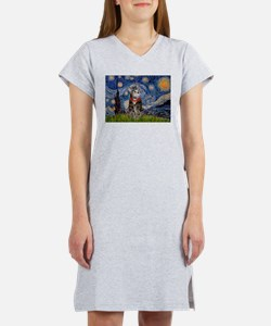 Starry Night / Tiger Cat Women's Nightshirt