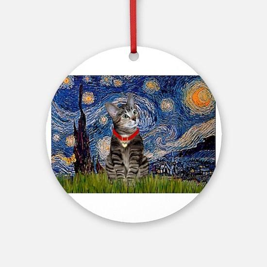 Starry Night / Tiger Cat Ornament (Round)