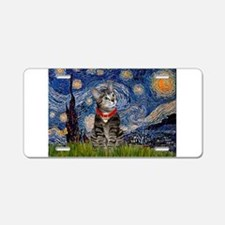 Starry Night / Tiger Cat Aluminum License Plate