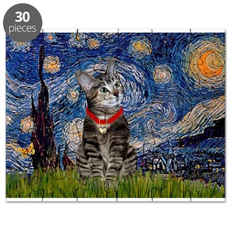 Starry Night / Tiger Cat Puzzle