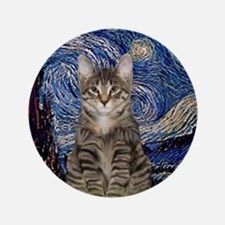 "Starry Night & Tiger Cat 3.5"" Button"