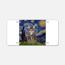 Starry Night & Tiger Cat Aluminum License Plate