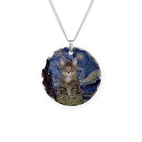 Starry Night & Tiger Cat Necklace Circle Charm