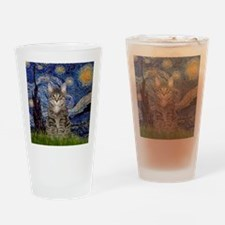 Starry Night & Tiger Cat Drinking Glass