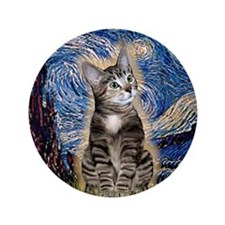 "Starry / Tiger Cat 3.5"" Button"