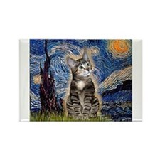 Starry / Tiger Cat Rectangle Magnet