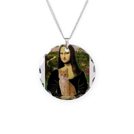 Mona / Tiger Cat Necklace Circle Charm