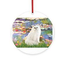 Monet's Lilies & White Persia Ornament (Round)
