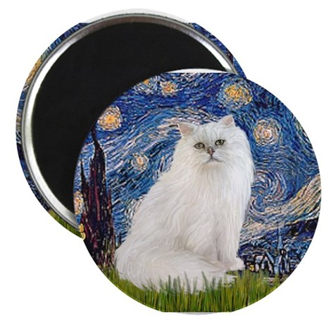 Starry Night White Persian Magnet