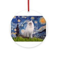 Starry Night Ragdoll Ornament (Round)