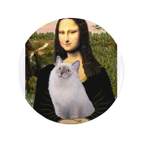 """Mona & her Ragdoll 3.5"""" Button"""