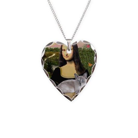 Mona's Siamese cat Necklace Heart Charm