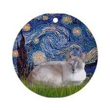Starry / Lilac Pt. Siamese Ornament (Round)