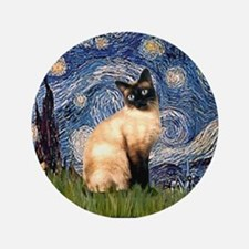 "Starry Night Siamese 3.5"" Button"