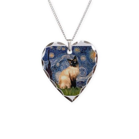 Starry Night Siamese Necklace Heart Charm