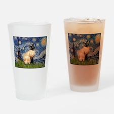Starry Night Siamese Drinking Glass