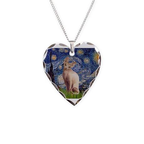 Starry Night / Sphynx Necklace Heart Charm