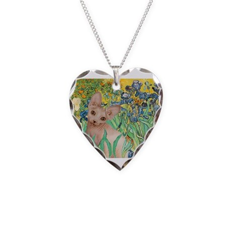 Irises / Sphynx Necklace Heart Charm