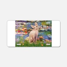 Sphynx cat and lilies. Aluminum License Plate