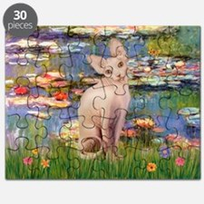 Sphynx cat and lilies. Puzzle