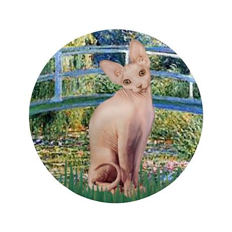 "Lily Pond Bridge & Sphynx cat 3.5"" Button"