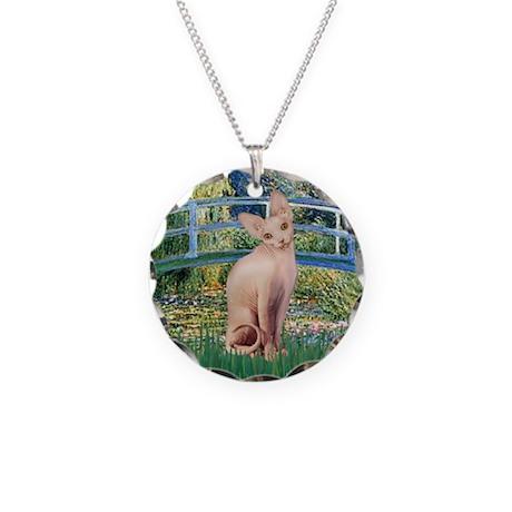 Lily Pond Bridge & Sphynx cat Necklace Circle