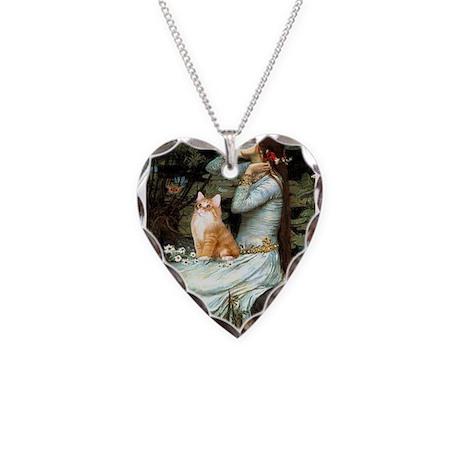 Ophelia / Orange Tabby Necklace Heart Charm