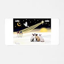 XmasDove-3 Siamese cats Aluminum License Plate
