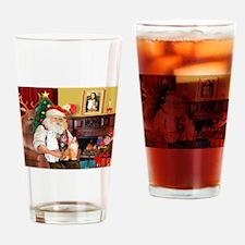 Santa's 3 cats Drinking Glass
