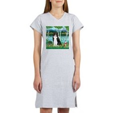 Birches / (B&W) Cat Women's Nightshirt